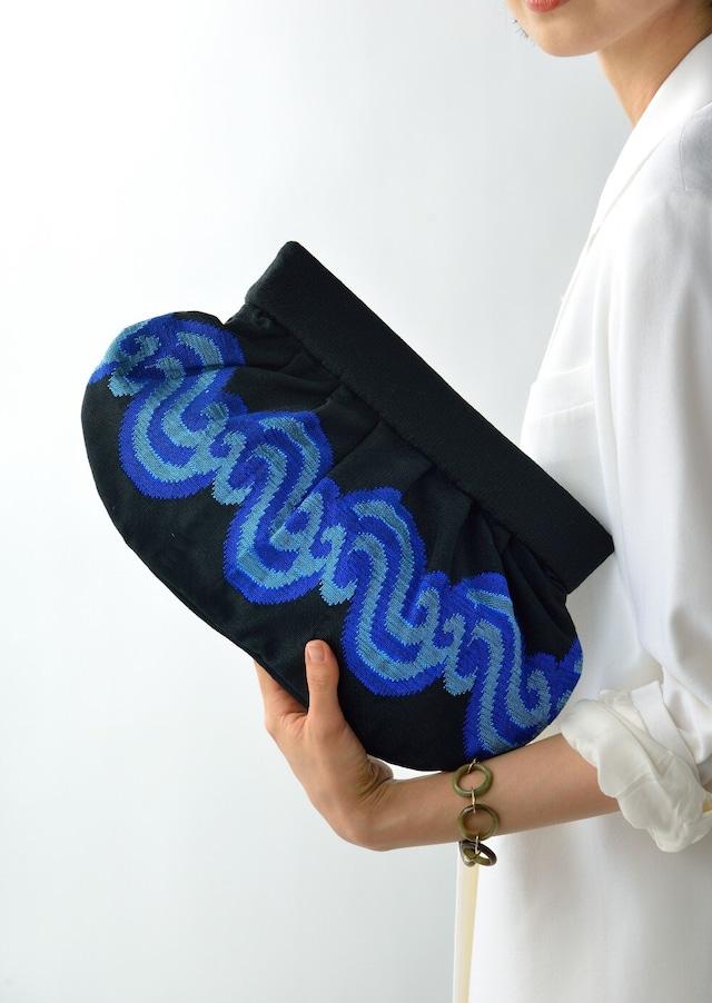 手織りクラッチL  アチェ柄  ブラック×ブルー
