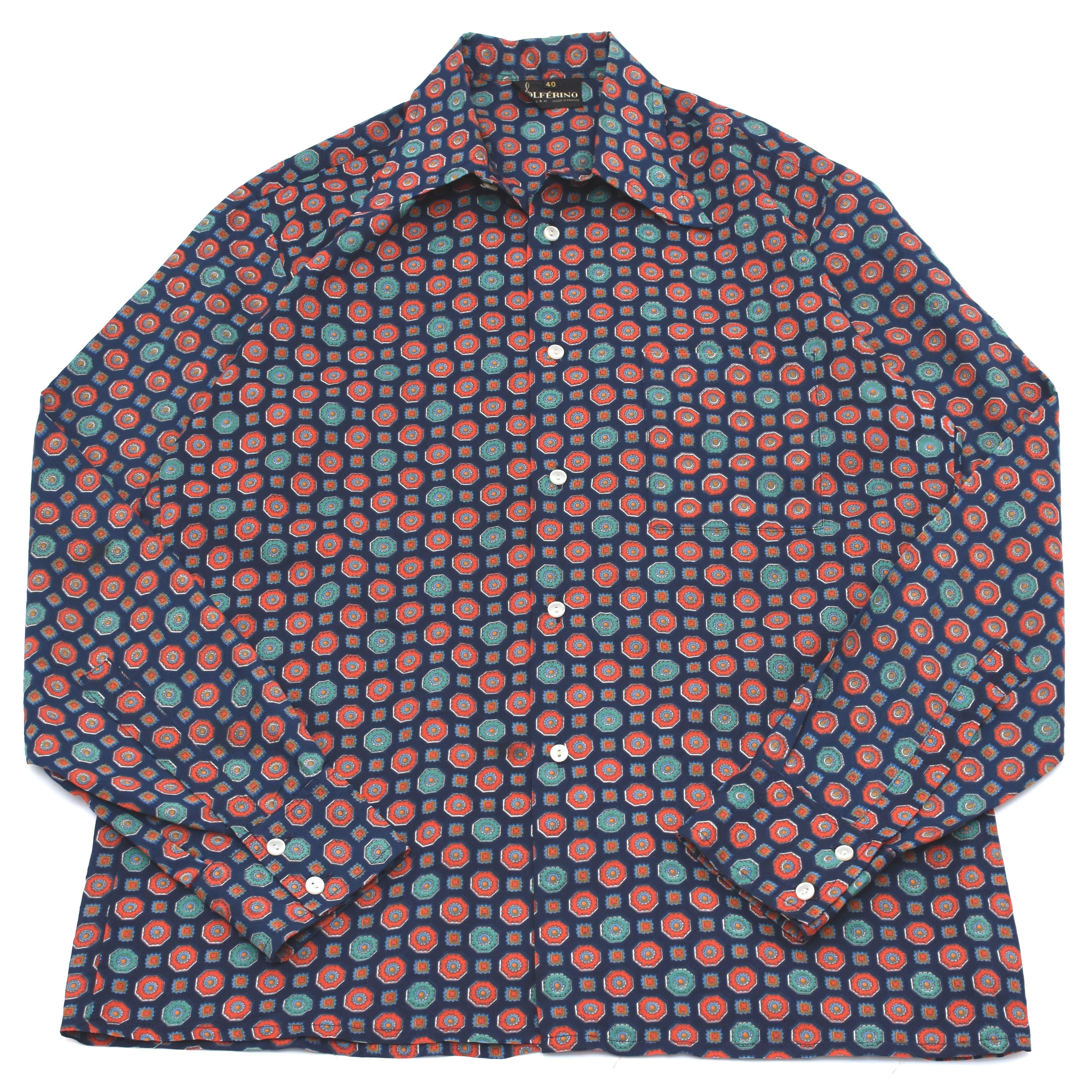 【フランス製】vintage fine pattern シャツ 小紋柄シャツ