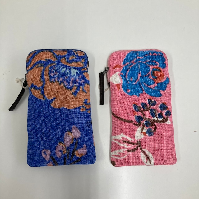 EPICE(エピス) 電話カバー フォーンカバー ピンク リネン 花柄 軽量 ポーチ パリ