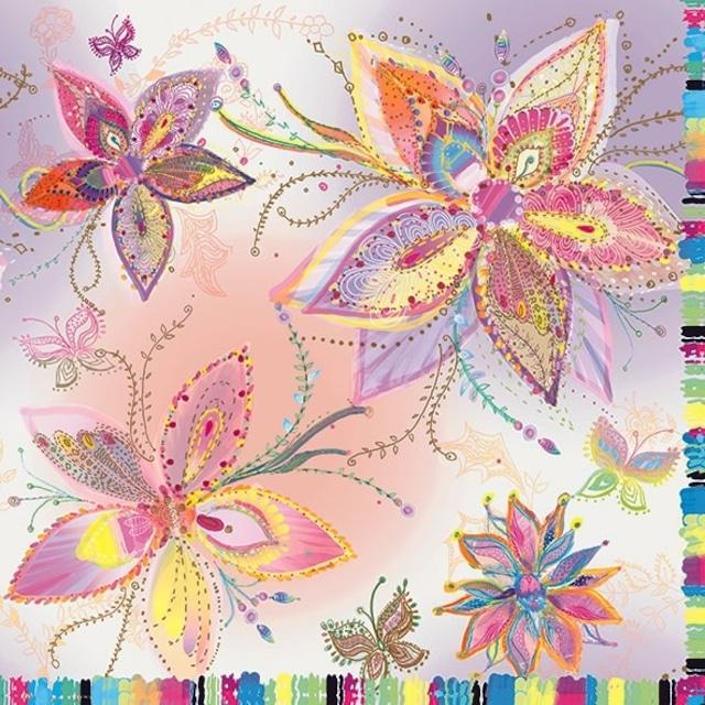 【artablo】バラ売り2枚 ランチサイズ ペーパーナプキン SILVER MOON FLOWERS ピンク