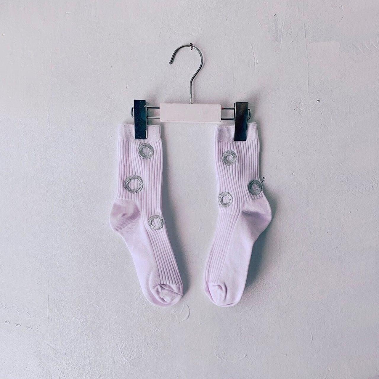 MONDEWORK まる刺繍SOCKS #3 白×シルバー刺繍