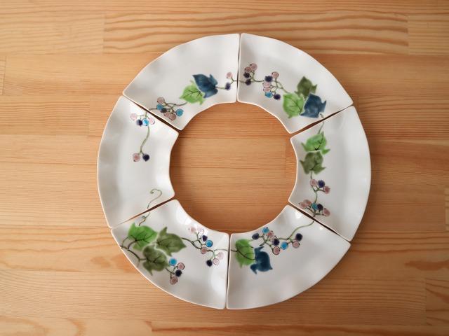 野ぶどう(まわり絵) 扇皿6枚組