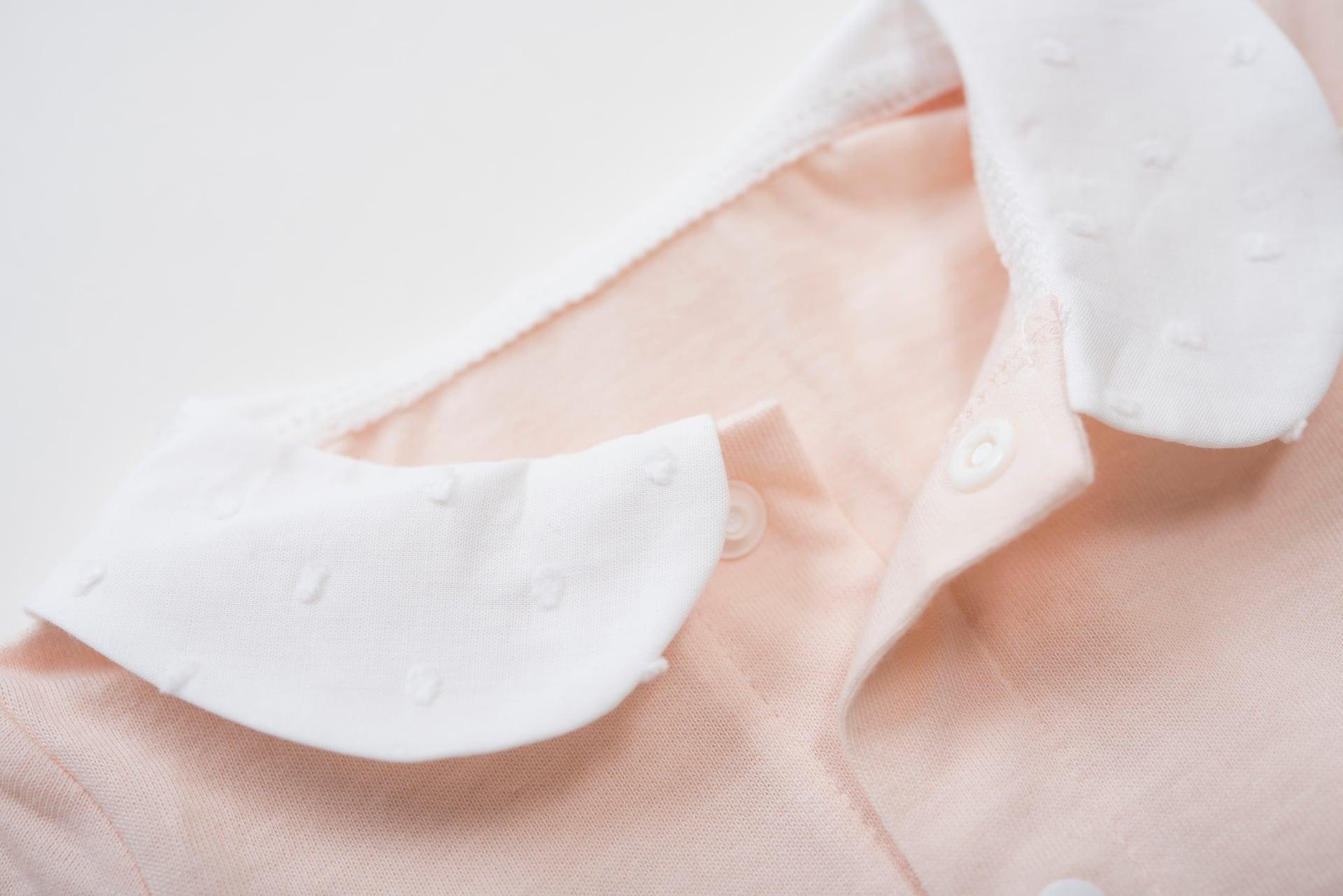 襟つきロンパース ピンク (長袖・足なし)