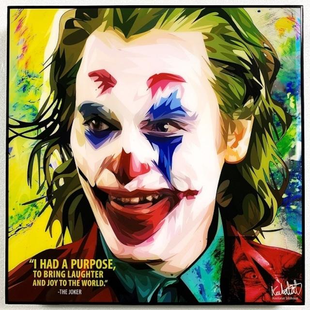 Joker (4) / ジョーカー「ポップアートパネル Keetatat Sitthiket」ポップアートフレーム ポップアートボード グラフィックアート ウォールアート 絵画 壁立て 壁掛けインテリア 額 ポスター プレゼント ギフト インスタ映え 映画 アメコミ キータタットシティケット