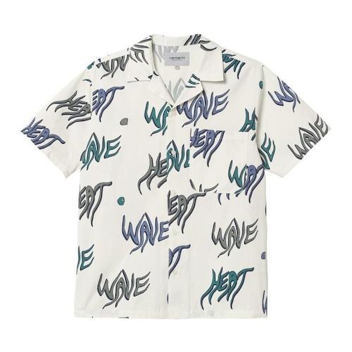 【Carhartt WIP】 S/S HEAT WAVE SHIRT - Heat Wave Print, Wax カーハート 半袖シャツ 柄シャツ