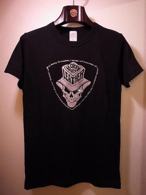 スカルハットロゴ・ロックTシャツ◆黒ベース×シルバー・シルクプリントtype