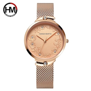 クォートムーブメントデザイン腕時計ローズゴールドブルーステンレススチールラインストーン時計女性用119 rose gold