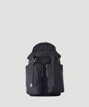 LORINZA   Nylon Twill Double Pocket Backpack Black LO-STN-BP34