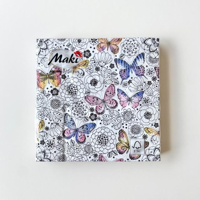 【Maki】ランチサイズ ペーパーナプキン GRAPHIC BUTTERFLIES AMONG COLORING FLOWERS ホワイト 20枚入り