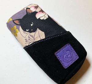 黒猫と革のL字ファスナーポーチ(紫x黒スエード) [259-pt]