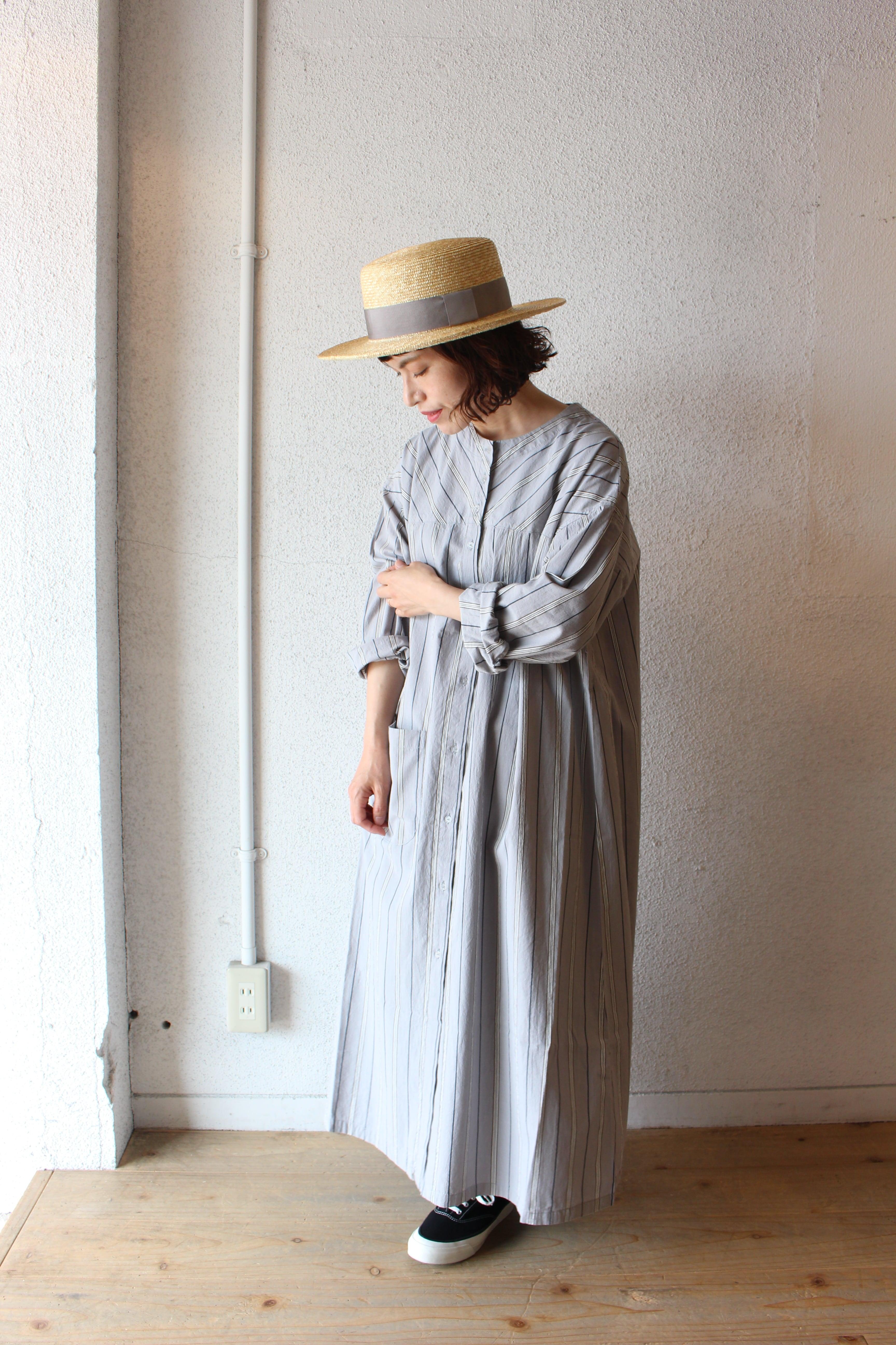 NAPRON(ナプロン)/ Work Shirts Dress(ワーク シャツドレス)グレーストライプ