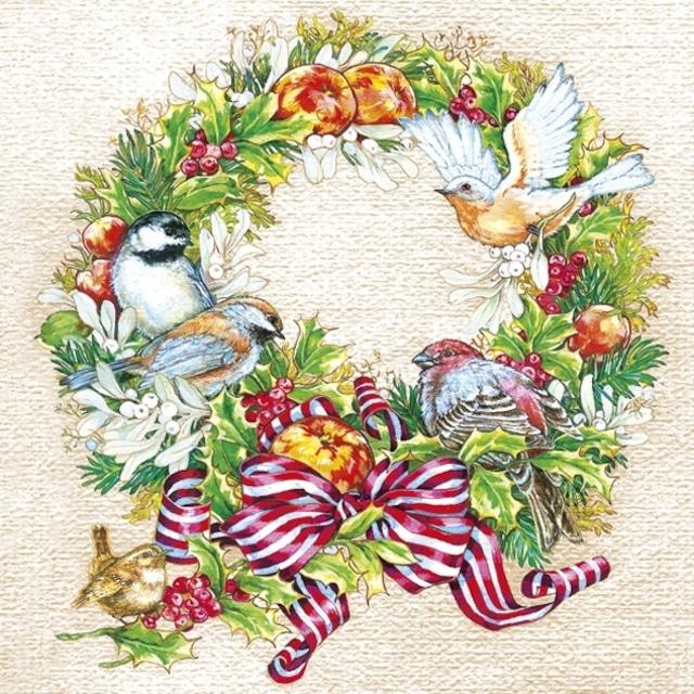 【Maki】バラ売り2枚 ランチサイズ ペーパーナプキン Christmas Wreath with Birds クリーム