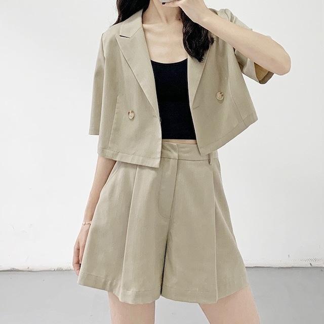 2021SS ショート丈半袖ジャケット+ショートパンツ S1866