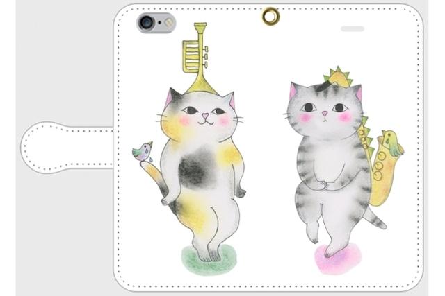 (iPhone用)トランペット猫とサックス猫の手帳型スマホケース