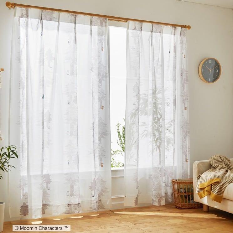 【最短8営業日で出荷】ボイルレースカーテン ムーミン 「PUUT プート グレー」 (幅×丈):100×176cm(2枚組) ab-a1017