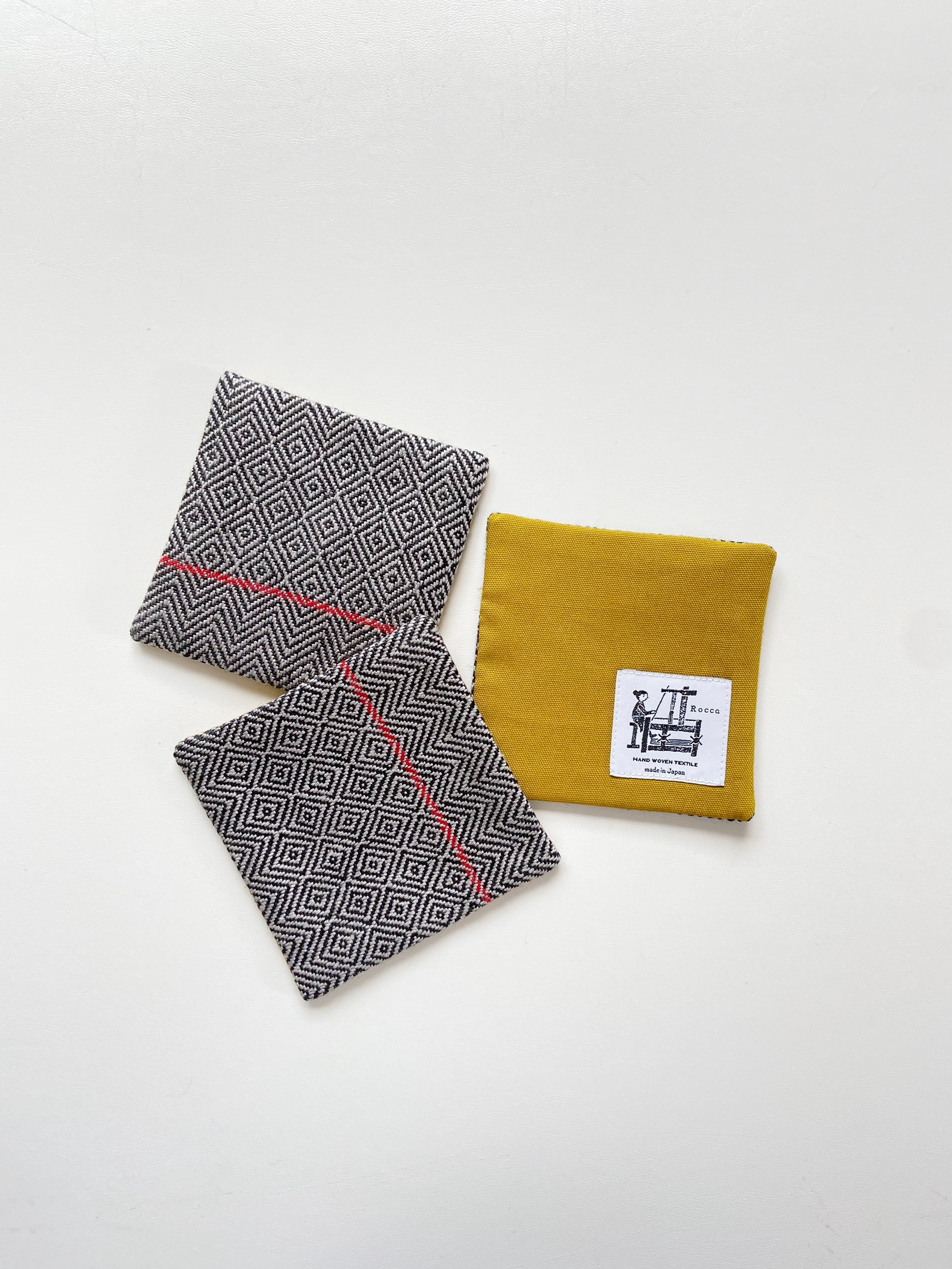 手織りコースター(HAND WOVEN Coaster bird's-eye )