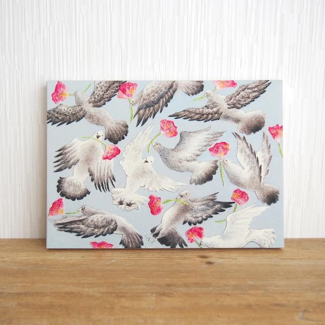 *とびまわる鳩の絵 (複製) 木製パネル サイズ変更可