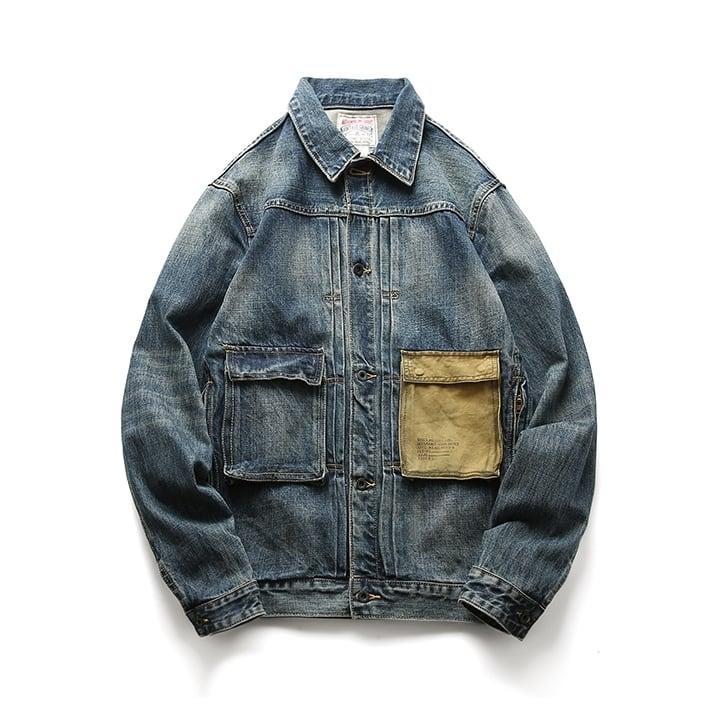 【UNISEX】アウトドア マルチポケット デニムジャケット