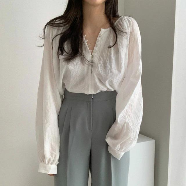 【シャツ】フロントボタンサマーシャツ