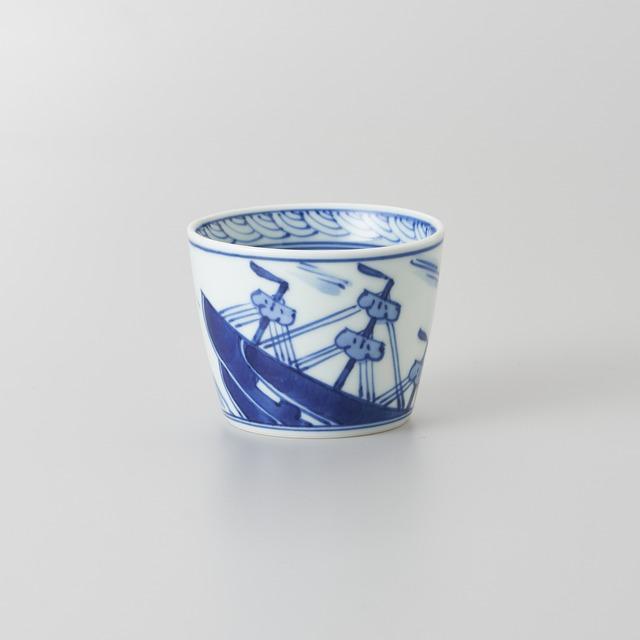 """【青花】""""クラシック異人"""" そば猪口[小](帆船)"""