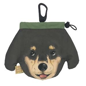 犬のウンチバッグ M【ダックスフント】(黒色 x クリーム色) 防臭生地 / デオドラント加工布使用