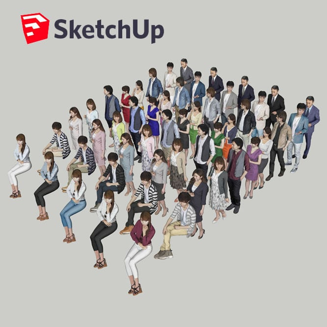SketchUp素材 3D人物素材-ポーズド 10個セット 002_Posed-set - 画像2