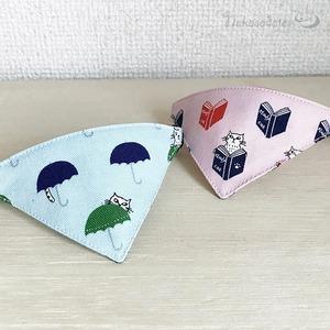 【雨降り猫柄ブルー】猫用バンダナ風首輪/選べるアジャスター 猫首輪 安全首輪 子猫から成猫