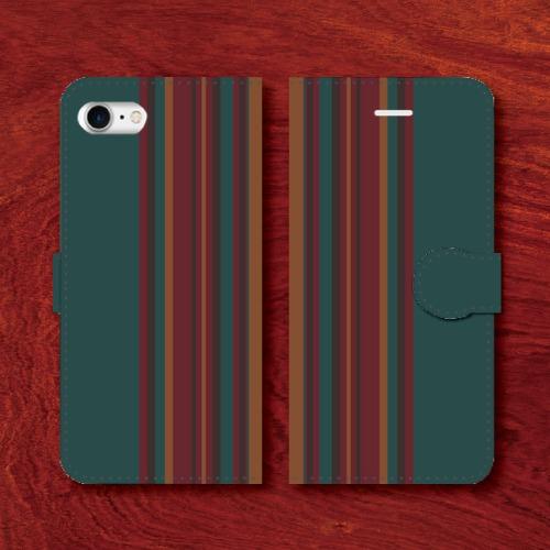 レトロストライプ/昭和レトロ/レトロ家具調/青緑系色/iPhoneスマホケース(手帳型ケース)