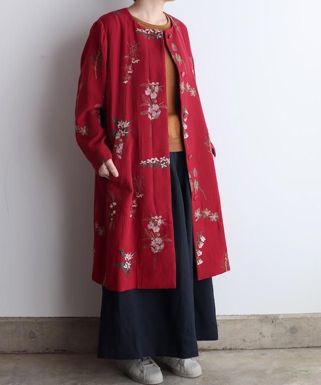 ボタニカル刺繍コート  (eve508 )