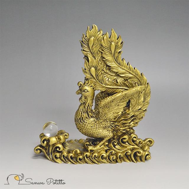 鳳凰 水晶 高さ16.5cm S19017 金 ゴールド フェニックス 置物 守護神 縁起物 中国 インテリア オブジェ 繁栄 優れた才能