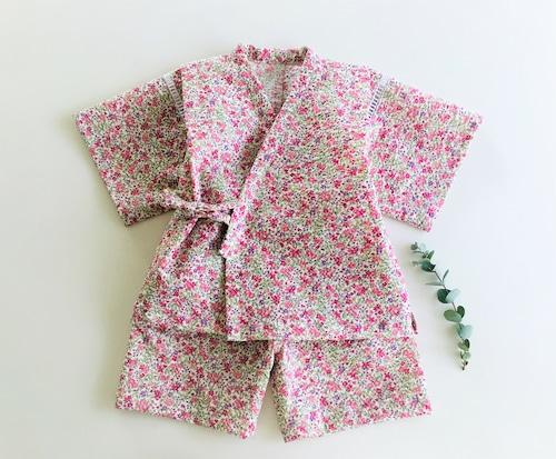 ベビー甚平 ピンクの小花柄 80cm