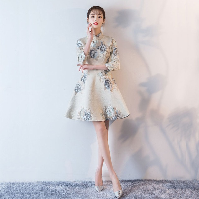 Aライン 長袖 スタンドネック チャイナ風ドレス パーテイードレス ロングワンピース 大きいサイズ 二次会 お呼ばれ 宴会 女子会 S M L 2L 3L