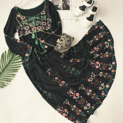 エスニック ワンピース ボタニカル 刺繍 フリンジ レディース ファッション ガーリー フェミニン カジュアル リゾート(A877)