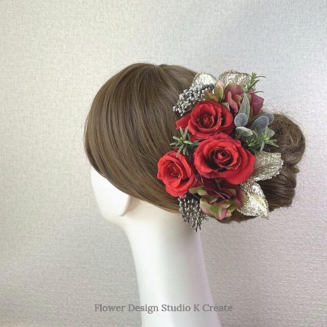 赤い薔薇とオリーブのヘッドドレス(13本セット) アーティフィシャルフラワー 赤 バラ 結婚式 発表会 髪飾り