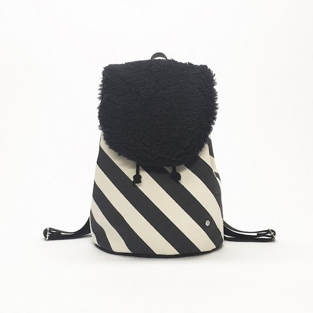 flap rucksack / black x stripe   フラップリュックサック / 墨 x 縞