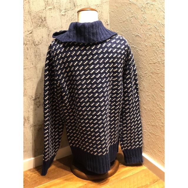 70s~80s LLbean blue knit