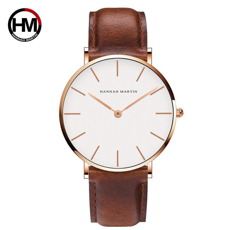 高品質ローズゴールドダイヤルウォッチメンズレザー防水腕時計レディースドレスファッションクォーツムーブメントCB01-FK