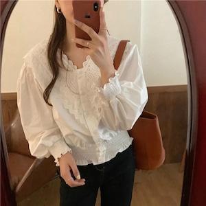 v neck frill blouse[2103-22]