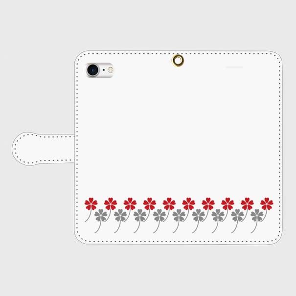 昭和デザイン花柄(赤・灰)/ iPhoneスマホケース(手帳型ケース)