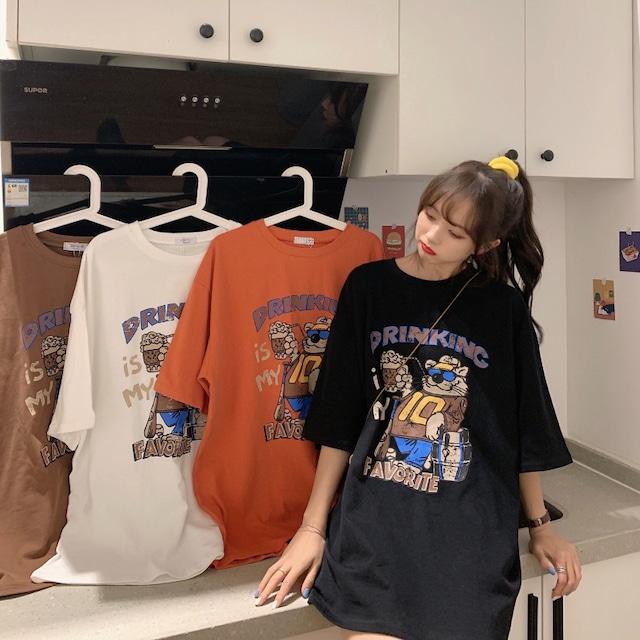 ルーズなワイルドプリントTシャツ S1959
