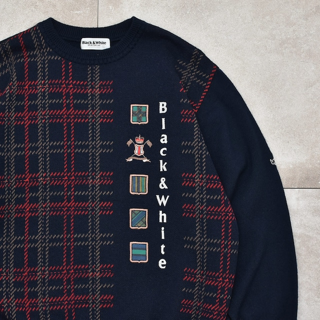 Check & Embroidery jacquard design knit