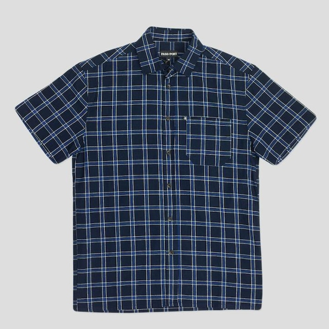 """PASS~PORT """"WORKERS CHECK"""" S/S SHIRT NAVY"""