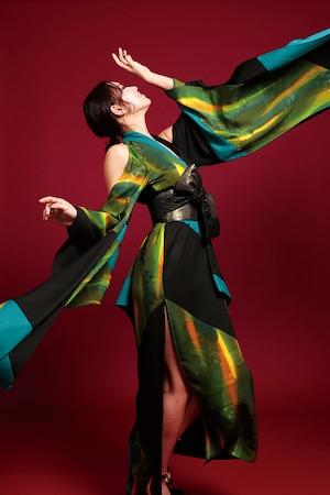 鳳凰ドレス(phoenix dress)green × yellow  × turquoise blue × black