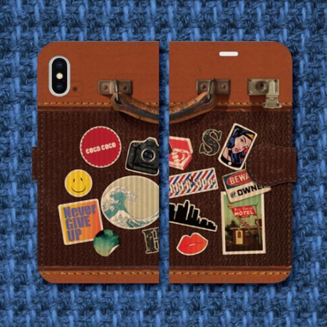 レトロ調/スーツケース調/トランク調/レザー調/旅行/トラベル/ビンテージ調/iPhoneスマホケース(手帳型ケース)