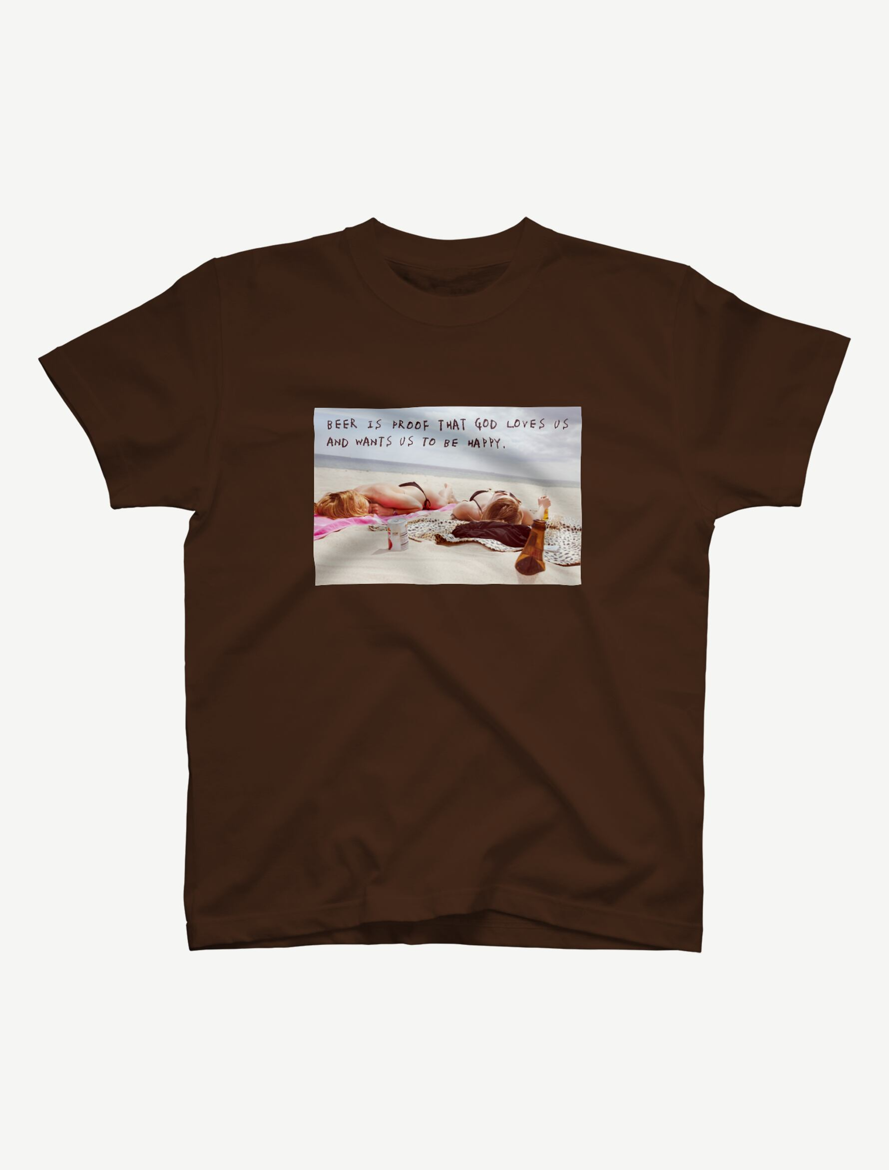 【悩み無用の開放ビーチ】Tシャツ(ダークブラウン)