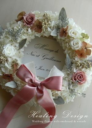 結婚式 ウェルカムボード リース(ホワイトアジサイ&アンティークピンク)ウェディング ガーデンウェディング /受注製作