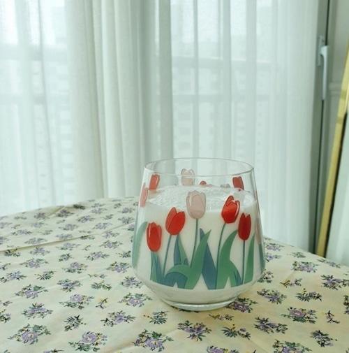 tulip glass cup 400ml / 韓国 チューリップ コップ