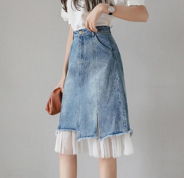 裾レース デニムスカート