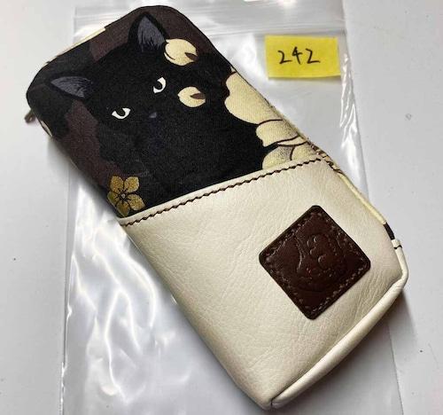 黒猫と革のL字ファスナーポーチ(茶x白) [242-pt]