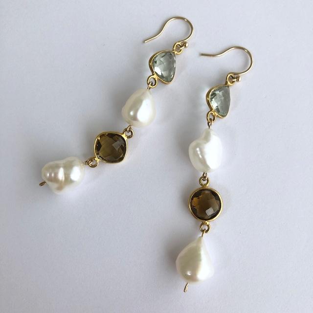 Color Gem x Baroque Pearl Pierces Four -002 / K10YG・ Pair